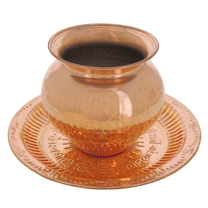 Picture of Small Copper Puja Thali with Copper Kalash Lota